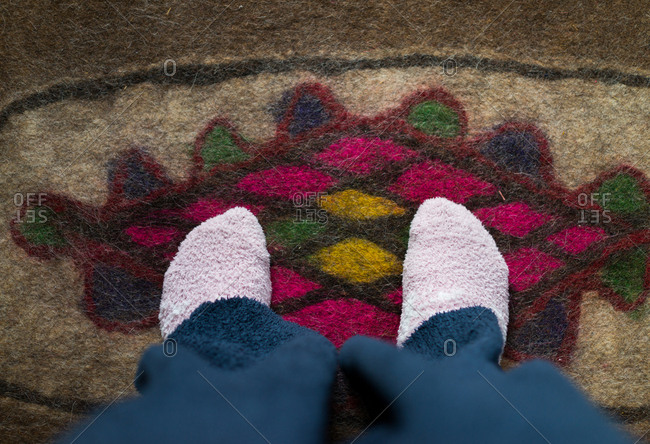 wering socks in a cold day
