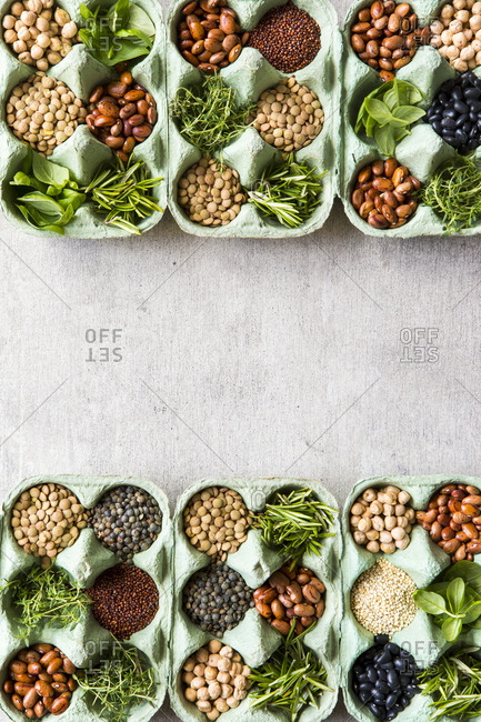 Overhead view of components for vegan meals