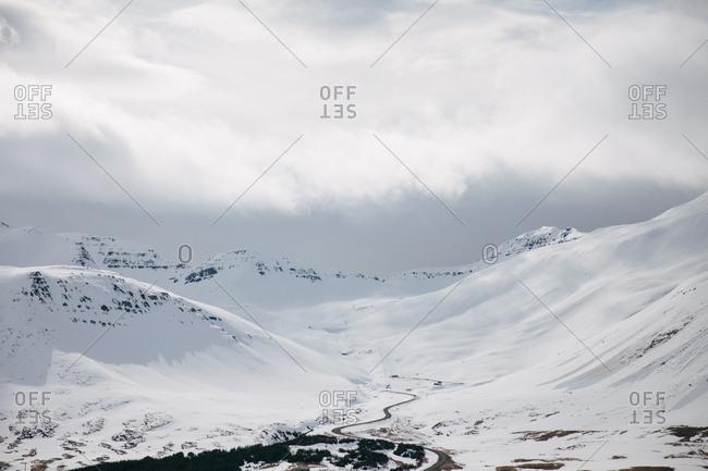 Vast snowy mountain landscape in rural Iceland