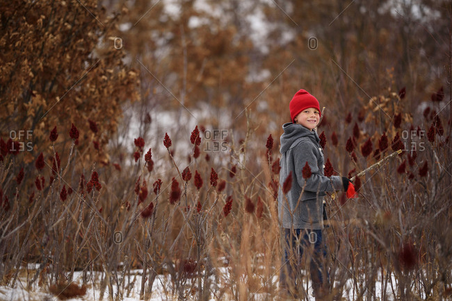 A happy young boy playing in a field of sumac
