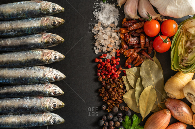 Set of various spices lying near fresh shrimps and anchovies on black background