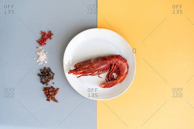 Set of assorted spices lying near plate with tasty boiled prawn on multicolored background