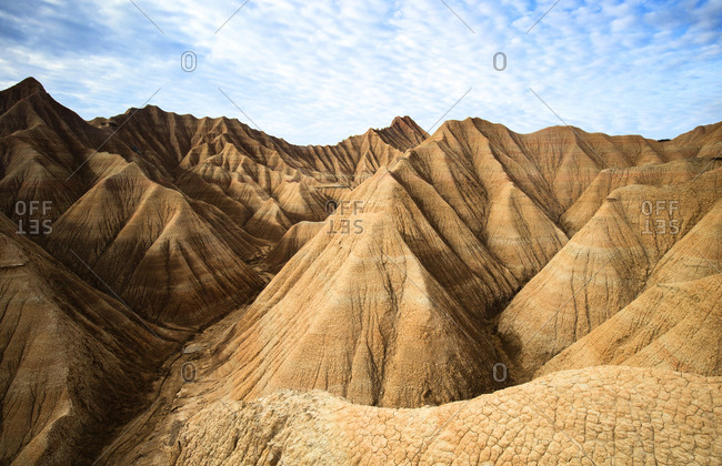 Rock mountains and blue heaven in Bardenas Reales, Navarra, Spain