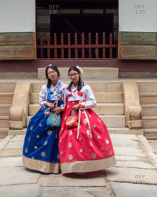 Seoul, South Korea - August, 08 2017: Asian women in traditional Korean clothing