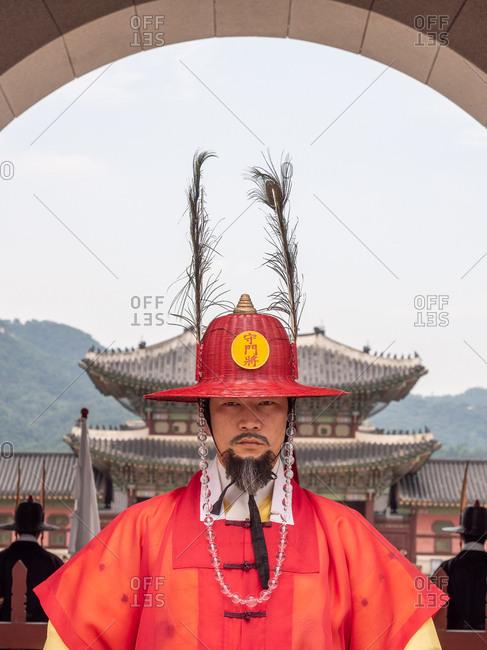 Busan, South Korea - August, 05 2017: Korean warrior near archway