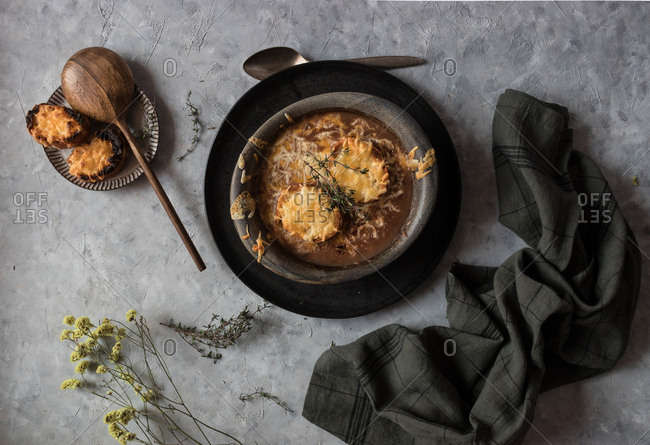 Bowl with French onion soup