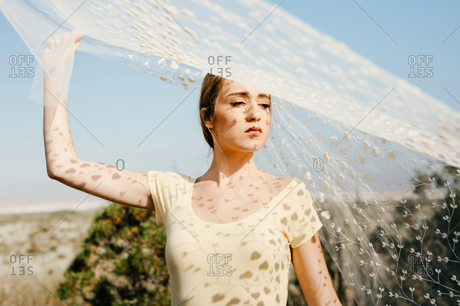 Charming young woman looking away while standing under transparent veil on sunny day in beautiful meadow