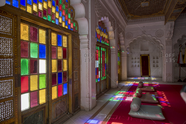 Jodhpur, India - April 18, 2018: Colorful stained glass windows in Meherangarh Fort