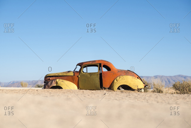 Namibia - October 11, 2015: An abandoned car near the small town of Solitare