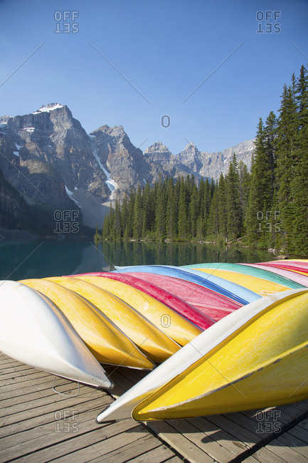 Rental canoes at Moraine Lake, Banff National Park, Alberta, Canada