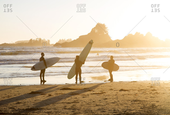 Tofino, British Columbia, Canada - August, 18, 2014: Surfing at Chesterman Beach