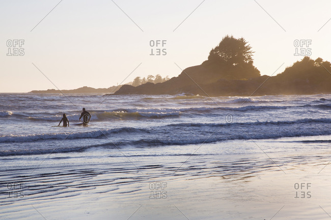 Surfing at Chesterman Beach, Tofino, British Columbia, Canada