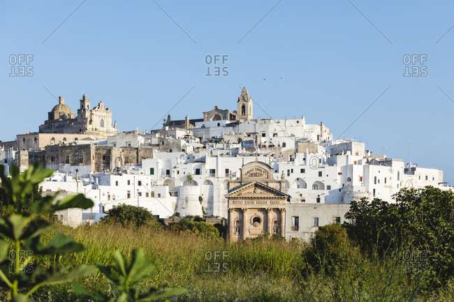 Ostuni, Italy - September 3, 2018: Panorama of Italian country at early morning