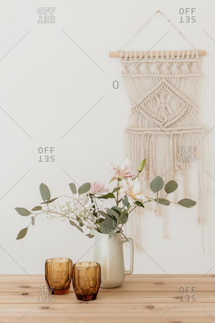 floral design against white wall