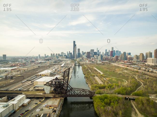 Aerial view of train rail bridge crossing the Chicago River, USA.