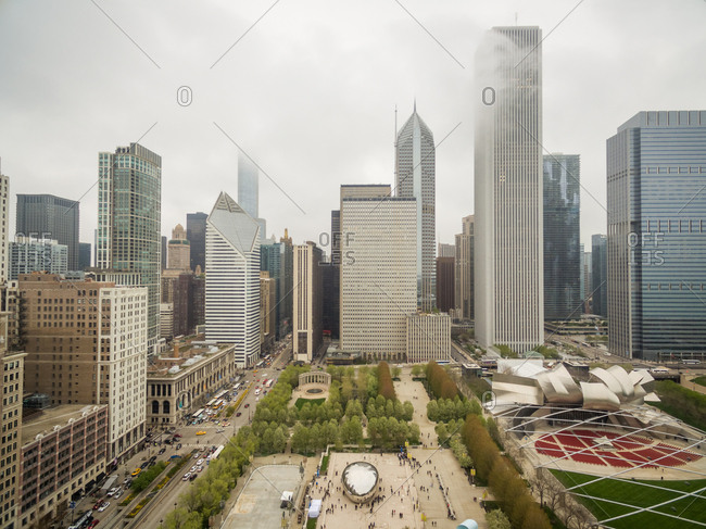April 29, 2016: Aerial view of mist covering tall building downtown Chicago, USA.