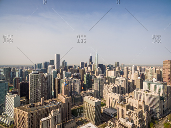 Aerial view of Chicago cityscape, USA.