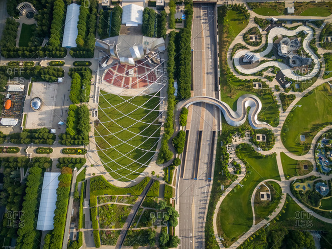 Aerial view of musical amphitheater at millennium park, Chicago, USA.