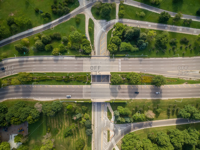 Aerial view of multi lade intersection crossing Lincoln park, Chicago, USA.