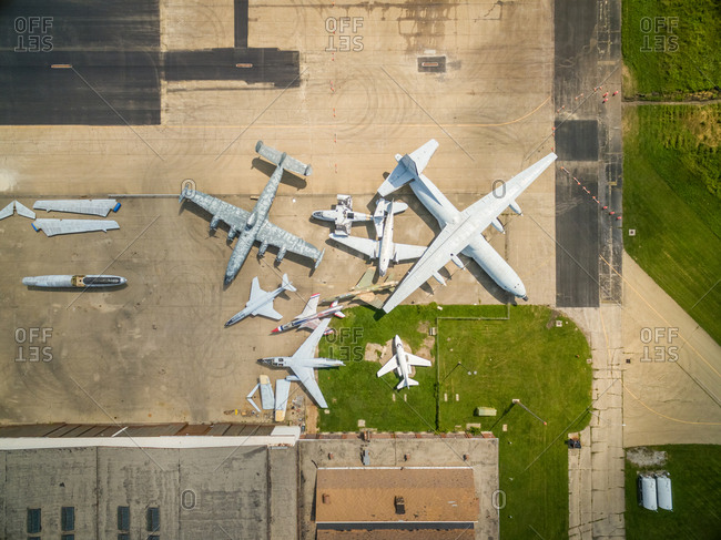 Aerial view above of Rantoul National Aviation Center museum, USA.