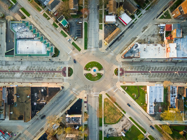 Aerial view of multilane roundabout downtown Brookfield, USA.