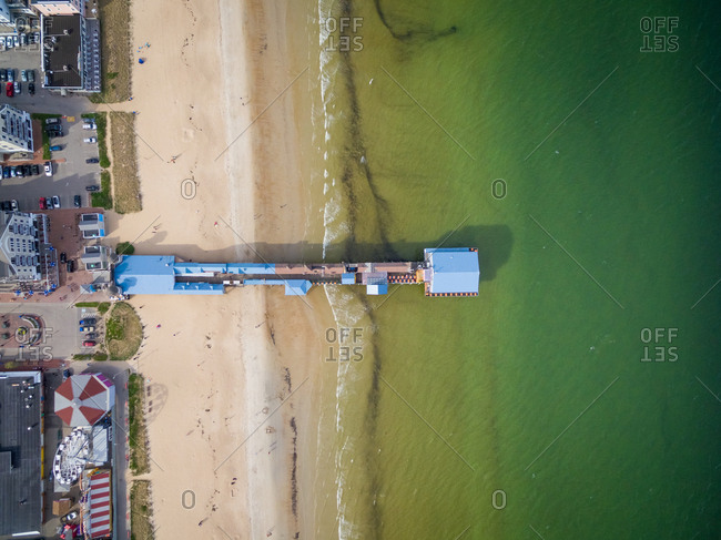 Aerial view of colorful pier at Old Orchard Beach, Maine, USA.