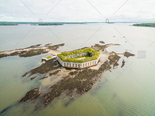 Aerial view of abandoned military Fort George, Maine, USA.