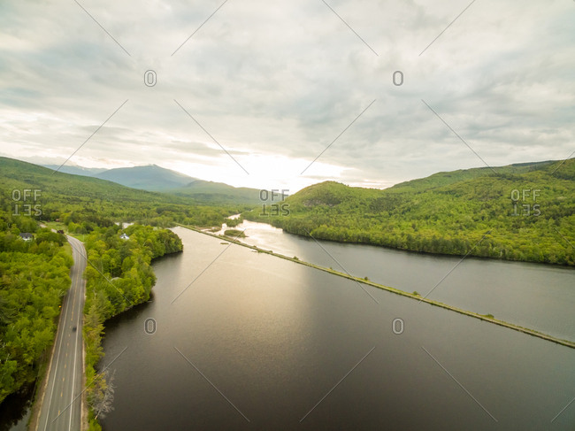 Aerial view over Reflection Pond during sunset, New Hampshire, USA