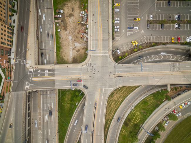 Aerial view of multi-lane road intersection, Boston, USA.