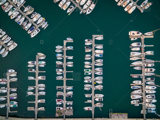 Aerial view of boats anchored at marina, Chicago, USA.