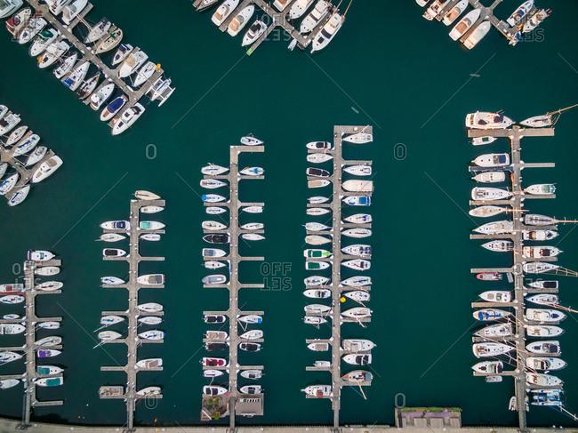 Aerial view of boats anchored at marina, Chicago, USA.