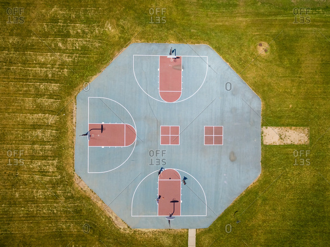 Aerial view of public basketball at public park, Chicago, USA.