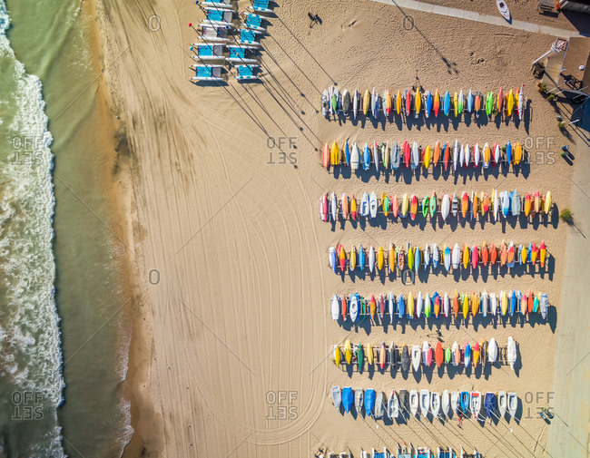 Aerial view of colorful kayak at Gilson Beach, Wilmette, USA.