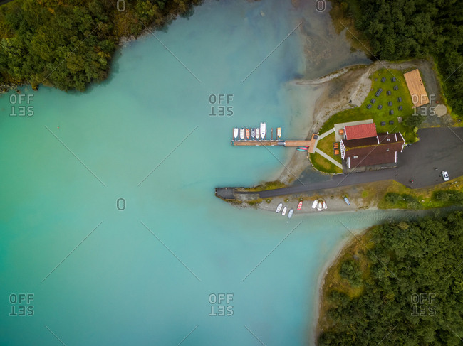 Aerial view of isolated house on the botton of natural valley, Norway.