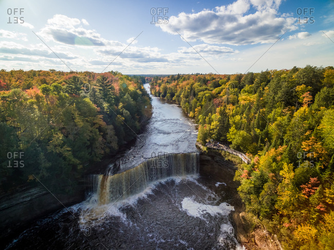 Breathtaking aerial view of waterfall on Carp River, Michigan, USA.