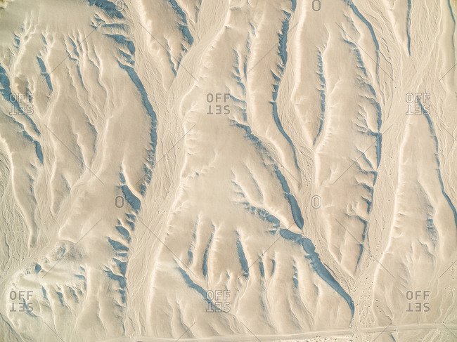 Aerial view above of Stovepipe Wells touristic attraction, USA.