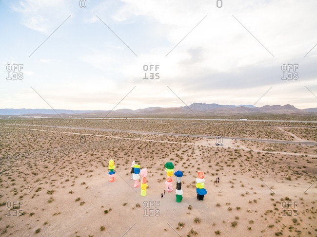 April 24, 2018: Aerial view of man standing in the middle of concept art, Arizona, USA.