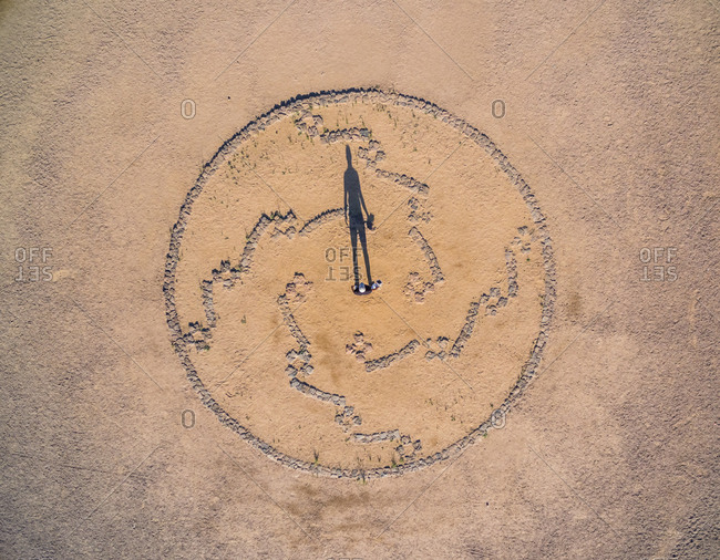 Aerial view of man standing in the middle of concept art, Arizona, USA.