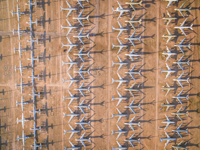 Aerial view of Davis-Monthan boneyard in desert landscape, Arizona, USA.