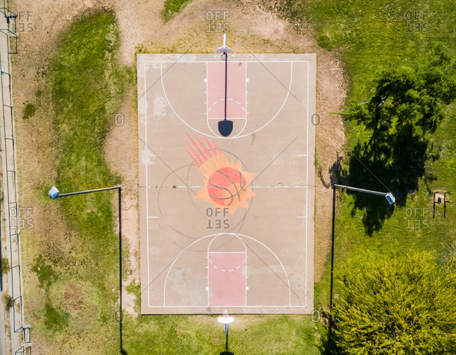 April 28, 2018: Aerial view of public basketball at public park, Chicago, USA.
