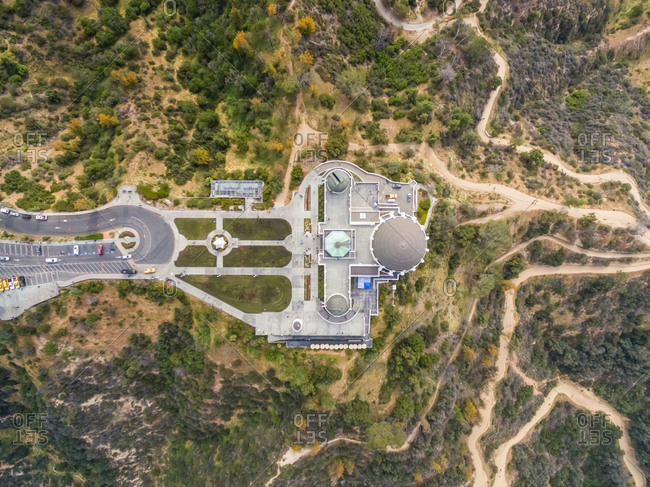 Aerial view above Griffith Observatory, Los Angeles, USA.