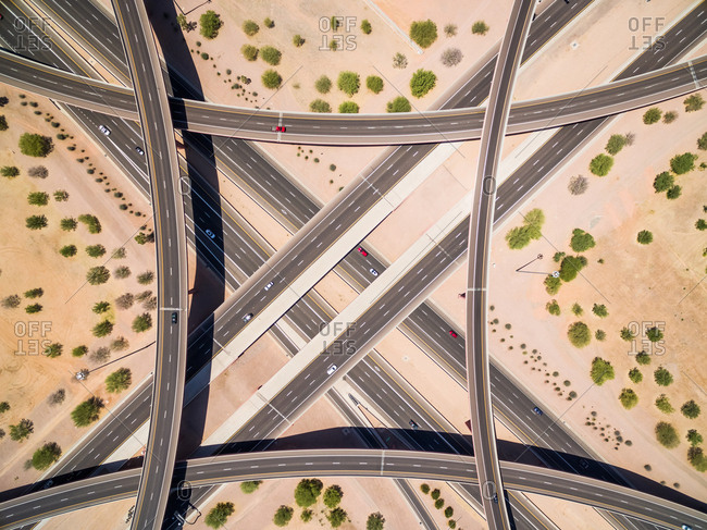 Aerial view of multi-lane road intersection on desert landscape, Las Vegas, USA.