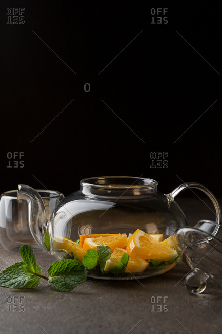 One glass teapot