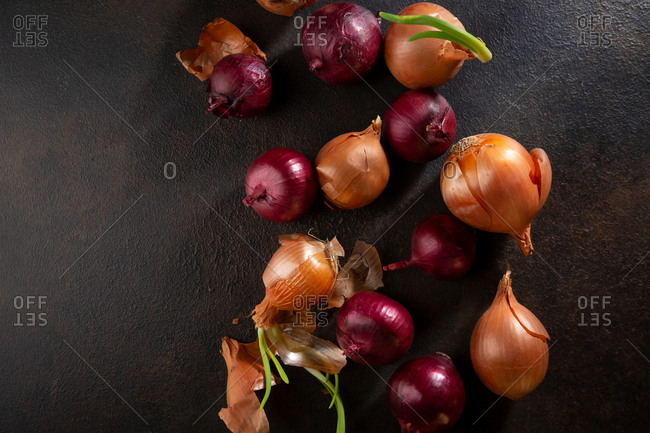 Red and brown onions above