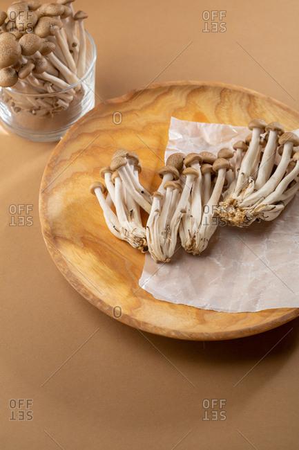 Shimeji Mushrooms on plate
