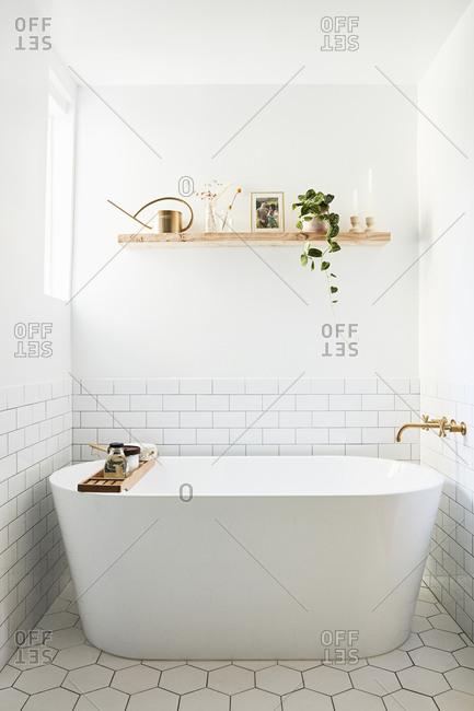 Los Angeles, California - November 21, 2018: Soaker tub in a modern bathroom