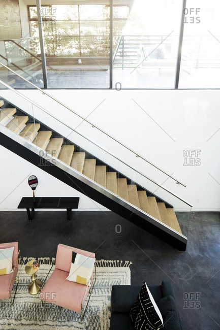 Los Angeles, California - December 17, 2015: Modern staircase in  Los Angeles home