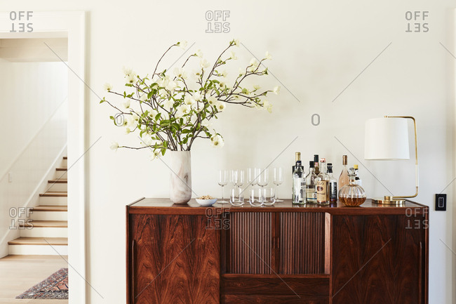 Los Angeles, California - February 14, 2015: Wooden credenza bar cabinet