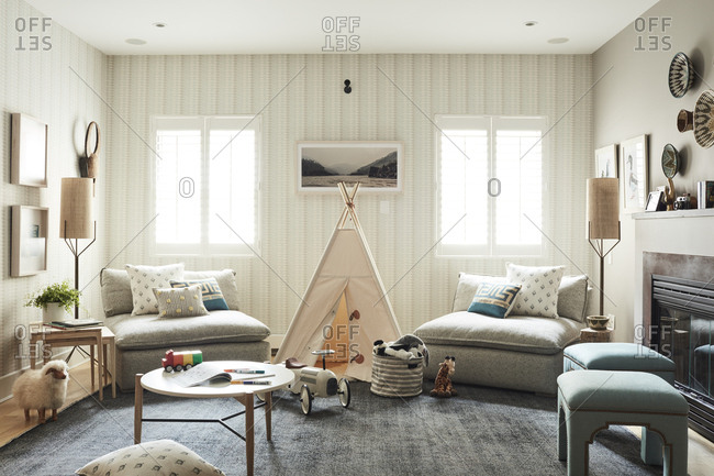 Los Angeles, California - July 12, 2017: Family room with a teepee and children's table and toys