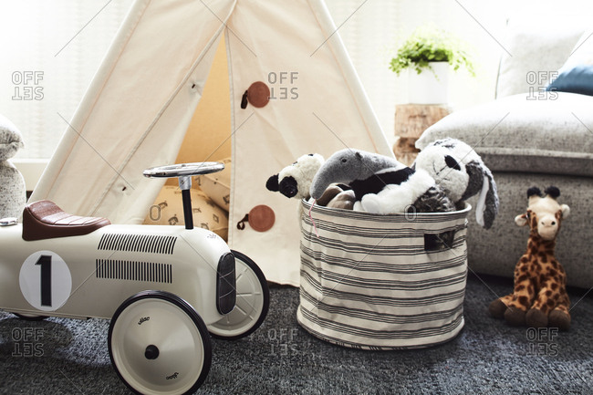 Los Angeles, California - July 12, 2017: Children's toys and teepee in a family room